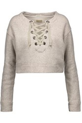 Mother The Tie Up Cropped Stretch Cotton Sweatshirt Stone