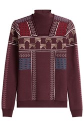 Peter Pilotto Patterned Knit Mock Neck Pullover Red