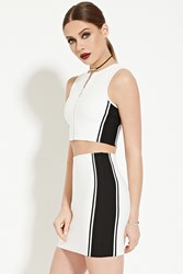 Forever 21 Colorblocked Bodycon Skirt Ivory Black