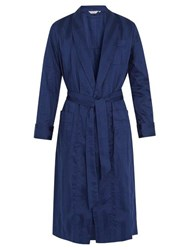 Derek Rose Lingfield Cotton Striped Bathrobe Navy
