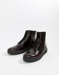 Zign Cupsole Lace Up Boots In Burgundy High Shine Red