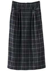 Poetry Wool Check Skirt Charcoal