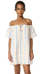 J.O.A. Stripe Off The Shoulder Dress Yellow Blue