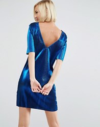 Asos Metallic Plisse T Shirt Mini With Low Back Blue