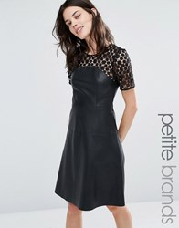 Vero Moda Petite Leather Look Lace Skater Dress Black
