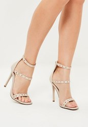 Missguided Nude 3 Strap Contrast Studded Heeled Sandals Gold
