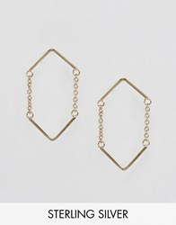 Asos Gold Plated Sterling Silver Open Triangle Chain Earrings Gold Plated