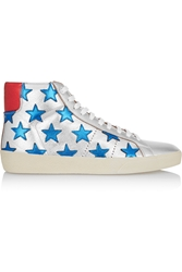 Saint Laurent Court Classic Appliqued Metallic Leather High Top Sneakers