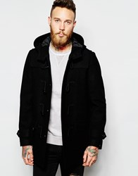 Asos Wool Mix Duffle Coat In Black