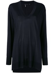 Calvin Klein V Neck Jumper Women Silk M Black