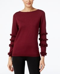 Ny Collection Ruffled Sleeve Sweater Burgundy