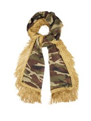 Saint Laurent Camouflage Print Fringed Wool Scarf Animal