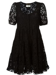 Saint Laurent Floral Lace Skater Dress Black