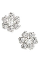 Nina Women's Flower Crystal And Imitation Pearl Stud Earrings Ivory Pearl Silver