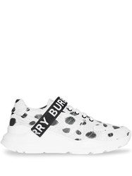 Burberry Animal Print Leather Sneakers White
