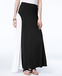 Inc International Concepts Colorblocked Maxi Skirt Only At Macy's Deep Black