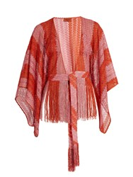 Missoni Mare Fringed Fine Knit Cropped Kaftan Red Multi