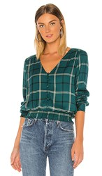 Sanctuary Fool For You Smocked Top In Blue. Mineral Plaid