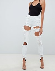 Missguided Bleached Washed Mom Jeans Blue
