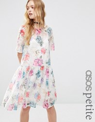 Asos Petite Smock Dress In Organza Floral Multi