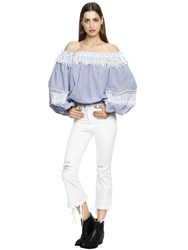 Forte Couture Off The Shoulder Cotton And Lace Top