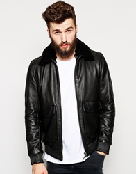 Nudie Jeans Nudie Leather Pilot Jacket Tjalle Detatchable Faux Fur Collar Black