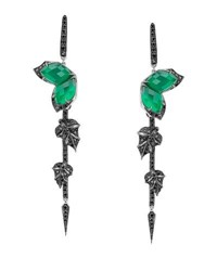 Stephen Webster Love Me Love Me Not Green Agate Quartz Earrings With Black Diamonds