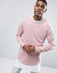 Black Kaviar Long Sleeve Tee In Pink Acid Wash Pink