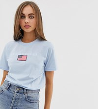 Daisy Street Relaxed T Shirt With Los Angeles Embroidery Blue