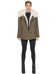 Army Fur Shearling And Cotton Canvas Parka