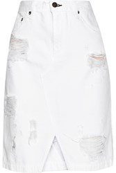 Rag And Bone Rag And Bone Distressed Denim Skirt White