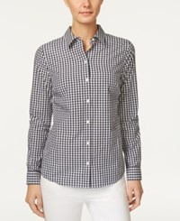 Charter Club Cotton Gingham Print Shirt Only At Macy's Intrepid Blue Combo
