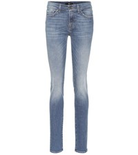 7 For All Mankind Roxanne Mid Rise Skinny Jeans Blue