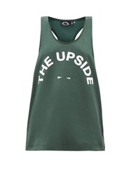 The Upside Brooklyn Logo Print Tank Top Green Print