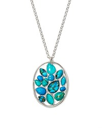 Ippolita Sterling Silver Rock Candy Large Mixed Turquoise And Doublet Cluster Pendant Necklace 30 Blue Silver