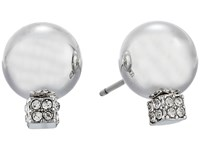 Vince Camuto Pave Ball Stud W Cry Earrings Light Rhodium Crystal Earring Silver