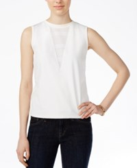 Armani Exchange Sleeveless Perforated Detail Top Solid White