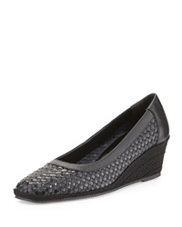 Mettie Woven Wedge Pump Black Sesto Meucci