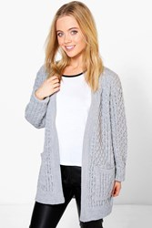 Boohoo Natalie Cable Knit Cardigan With Pockets Grey