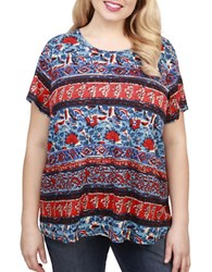 Lucky Brand Plus Printed Linen Blend Short Sleeve Top Red Multi