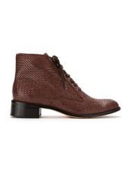 Sarah Chofakian Leather Ankle Length Boots Brown