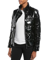 Emporio Armani Shiny Quilted Puffer Jacket W Hook Closure Black