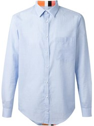 Msgm Colour Block Stripe Shirt Blue