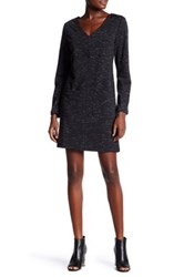 Max Studio V Neck Long Sleeve Knit Patch Pocket Dress Black