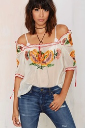 Nasty Gal Vintage Sofia Embroidered Peasant Top