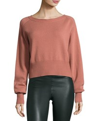 Theory Boat Neck Long Sleeve Relaxed Cashmere Sweater Brown