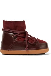 Inuikii Shearling Lined Leather And Suede Boots Burgundy