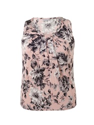 Chesca Rose Print Tuck Detail Jersey Top Pink