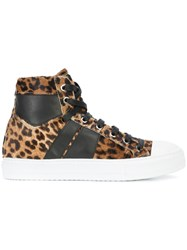 Amiri Leopard Print Hi Top Sneakers Pony Fur Rubber Leather Brown