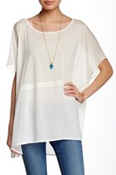 Hip Knit To Woven Tee Juniors White